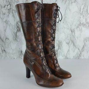 Gianni Bini Grannie Brown Heeled Boots 6.5 9F85